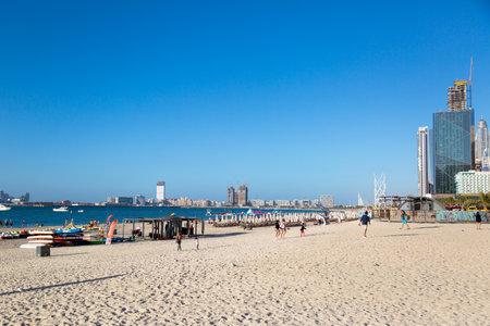 Dubai, United Arab Emirates 03 03 2020: Dubai Marina Beach. editorial Infrastructure and beach area of Dubai Marina.,