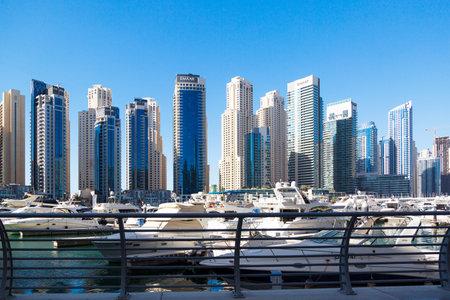 Dubai, United Arab Emirates 03 03 2020: Dubai marina. editorial Private luxury yachts moored in the city marina of an eastern country.