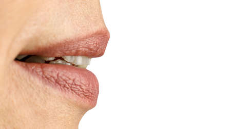 Female mouth slightly parted lips sexually. Close-up. Standard-Bild