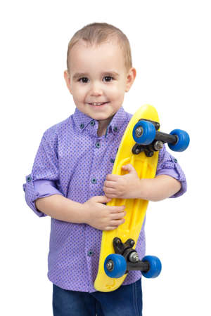 Child with skateboard in hands, isolate white background.
