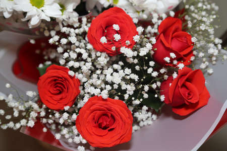 Bouquet of red roses and white chrysanthemums. Close-up. 版權商用圖片