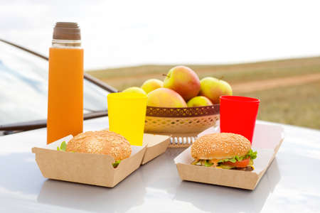 Lunch on the hood of a car, burgers tea and fruits. Banque d'images