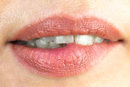 Girl sexually bites her lip with her teeth, macro photography. Banque d'images