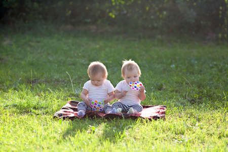 Twin children sit in a city park on a summer day on a blanket with toys.