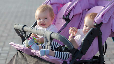 Two twin sisters are sitting next to each other in a baby stroller with toys in their hands.