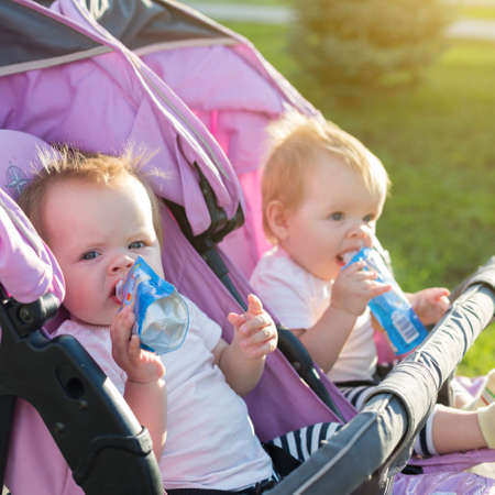 Two hungry twins in baby carriage with mashed potatoes on a walk.