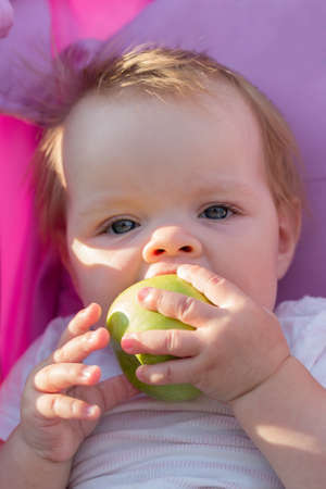 A little girl sitting in a baby carriage with a big appetite eats an apple. 版權商用圖片