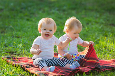 Happy twins on a blanket play with bright toys in the park on a sunny summer day. 版權商用圖片