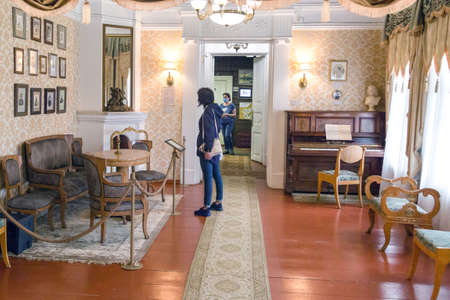Russia, Irkutsk-July 30, 2021. House of the Decembrist Trubetskoy. Editorial Rooms with furniture from ancient times of the Decembrists, Guided tour of two floors of the house.