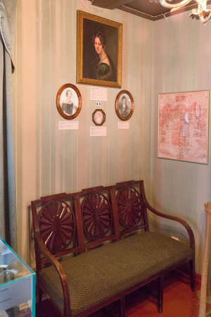 Russia, Irkutsk-July 30, 2021. House of the Decembrist Trubetskoy. Editorial Rooms with furniture from ancient times of the Decembrists Guided tour of two floors of the house 新聞圖片