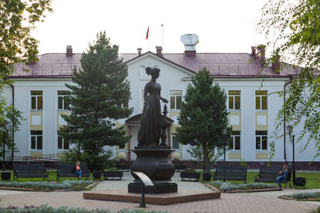 Irkutsk, Russia - July 26, 2021 Monument to the wives of the Decembrists at the gymnasium