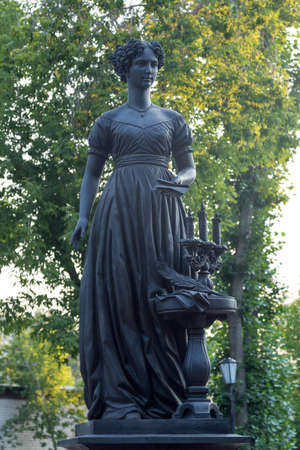 Irkutsk, Russia - July 26, 2021, Monument to the wives of the Decembrists at the gymnasium.