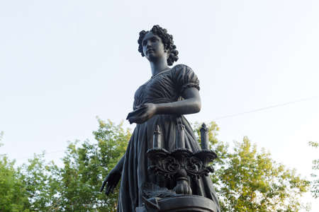 Irkutsk, Russia - July 26, 2021, Monument to the wives of Decembrists at gymnasium. 新聞圖片