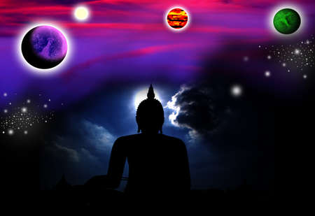 Buddha and the universe Stock Photo