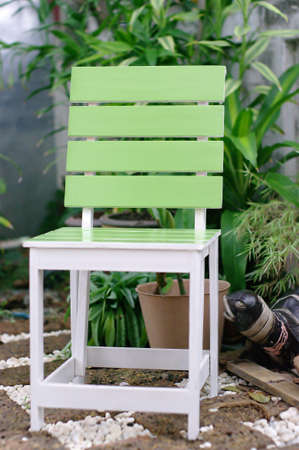 The green chair in the garden