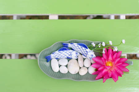 Lotus bloom in the plate on the table Stock Photo - 15095393