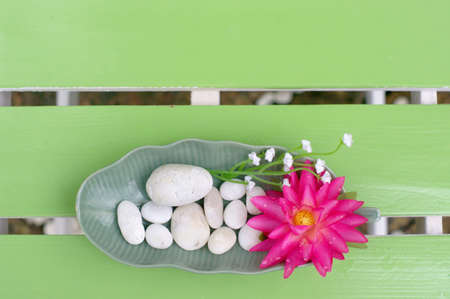 Lotus bloom in the plate on the table photo