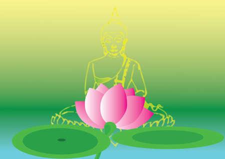 buddha lotus: Lotus and bubbha Illustration