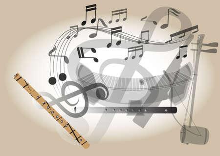 Thailandia strumento musicale flauto fa da bambù Vettoriali