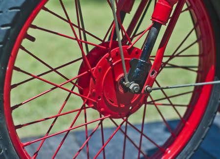 damper: Red wheel motorbike