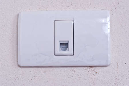 Internet plug on the wall in home