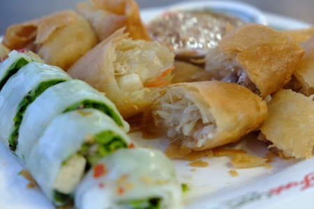 Fried Vietnamese cuisine  Traditional Spring rolls food Stock Photo