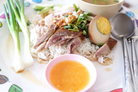 Duck Soup, Chinese style, served with steamed rice on dining table
