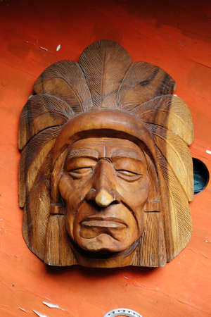 indian artifacts: Carved wooden Indians Page Stock Photo