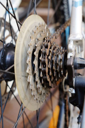 Close up of bicycle gears photo