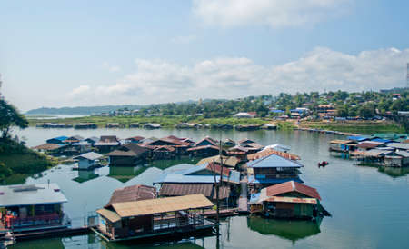 house float on water: Fishing village in Thailand Stock Photo