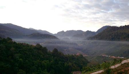 ridge of wave: Misty morning at mountains Stock Photo
