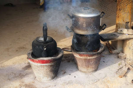 evaporating: Old Thailand stove kitchen cooking tool
