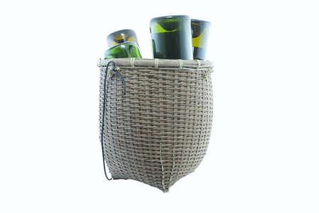 splint: wine in wicker basket isolated on white background