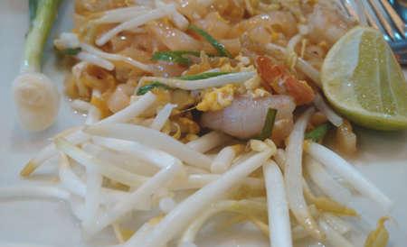 Thai food Pad thai , Stir fry noodles with fresh shrimp Stock Photo