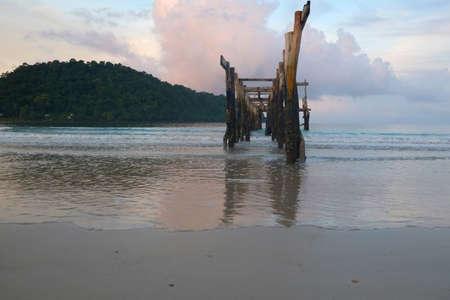 wood abandoned: abandoned wood bridge Stock Photo