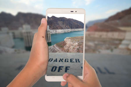 hoover dam: travel concept take photography hoover dam USA by phone