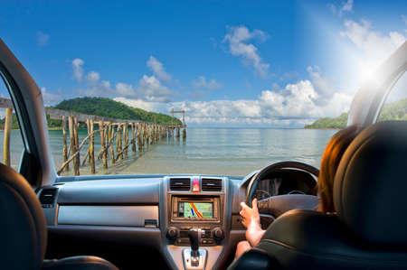 four wheel drive: Woman travel by four wheel drive car on beach. Stock Photo