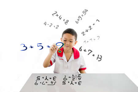 Smart kid get ready learning mathematics for new experience