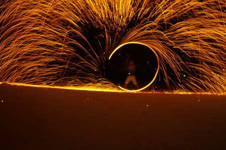 Amazing Fire Show at night on samet Island, Thailand Stock Photo
