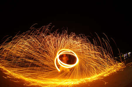 thai dancing: Amazing Fire Show at night on samet Island, Thailand Stock Photo