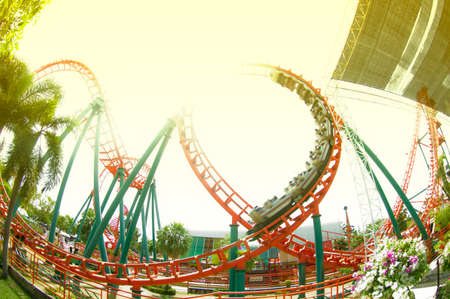 Roller coaster loop and sunny