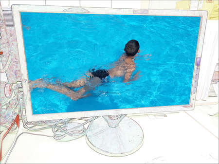 Drawings mix photos children play in water park in LED monitor Stock Photo