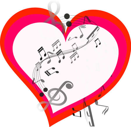 music in heart, vector art and illustration