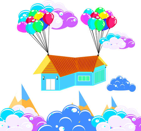 House hanging with balloon, business and asset management concept idea, vector art and illustration.