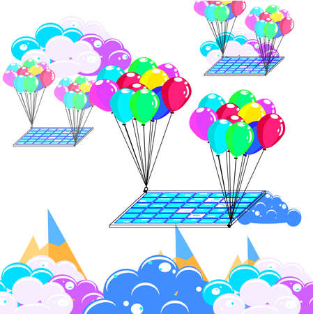 Solar cell hanging with balloon, business and asset management concept idea, vector art and illustration.