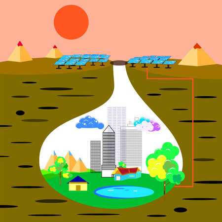 gale: City living under the ground, vector art and illustration. Illustration