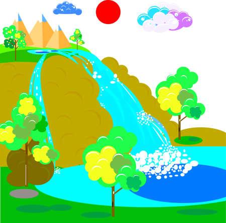 Waterfall, vector art and illustration. Illustration