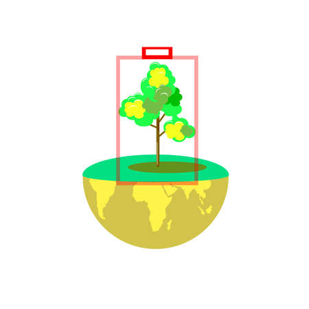 Art tree and earth energy save, concept ecology idea, vector art and illustration. Illustration