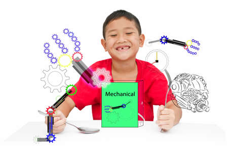 Smart kid Asia get ready learning mechanical for new experience Stock Photo