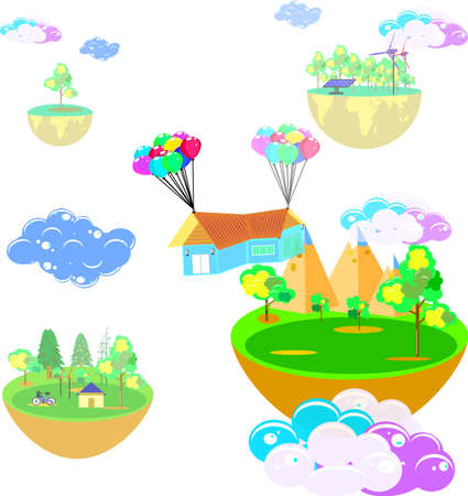 House hanging with balloon, business home and the world in imagination, vector art and illustration.